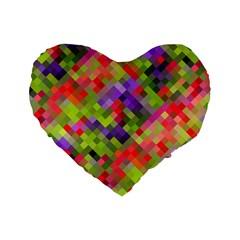Colorful Mosaic Standard 16  Premium Flano Heart Shape Cushions