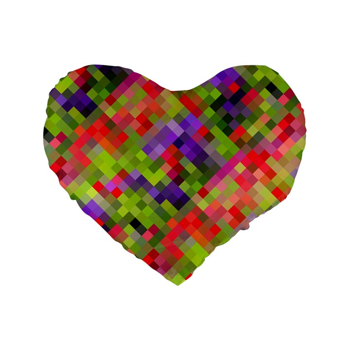 Colorful Mosaic Standard 16  Premium Flano Heart Shape Cushions