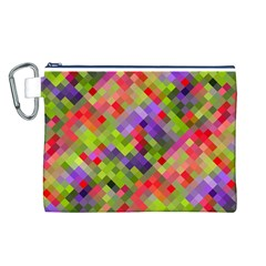 Colorful Mosaic Canvas Cosmetic Bag (l) by DanaeStudio