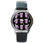 Halloween purple owls pattern Round Metal Watch