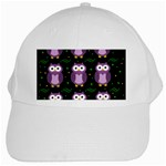 Halloween purple owls pattern White Cap