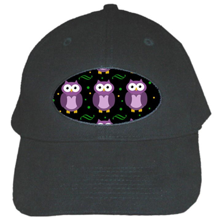 Halloween purple owls pattern Black Cap