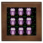 Halloween purple owls pattern Framed Tiles