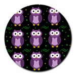 Halloween purple owls pattern Round Mousepads