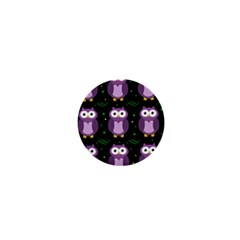 Halloween Purple Owls Pattern 1  Mini Magnets by Valentinaart