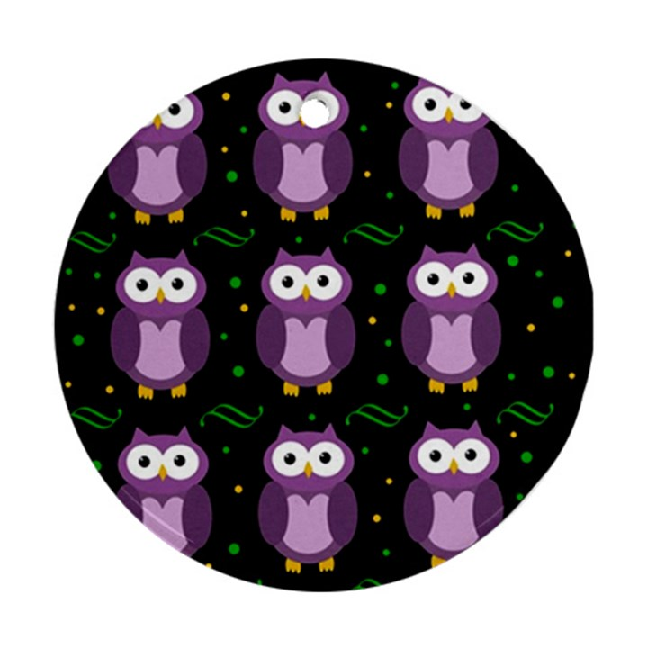 Halloween purple owls pattern Ornament (Round)