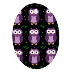 Halloween purple owls pattern Ornament (Oval)