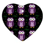 Halloween purple owls pattern Ornament (Heart)