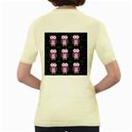 Halloween purple owls pattern Women s Yellow T-Shirt Back