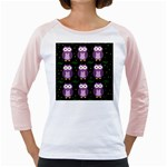 Halloween purple owls pattern Girly Raglans