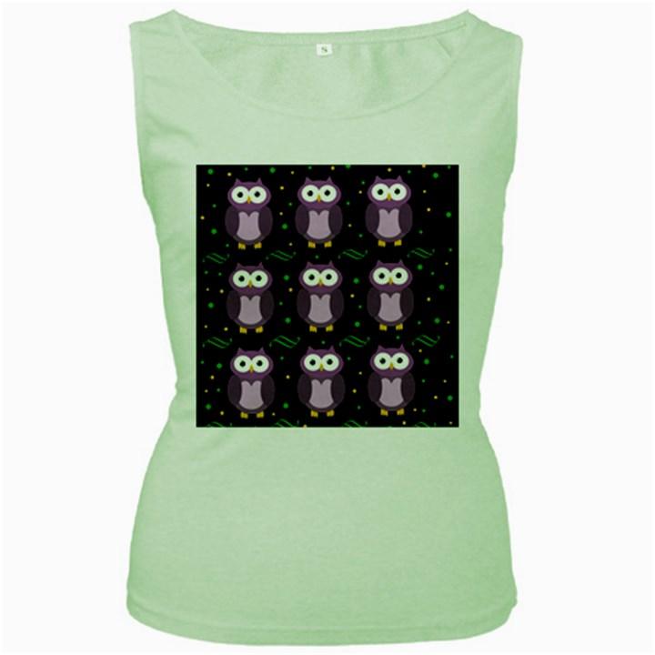 Halloween purple owls pattern Women s Green Tank Top