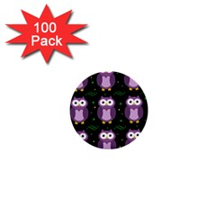Halloween Purple Owls Pattern 1  Mini Buttons (100 Pack)  by Valentinaart