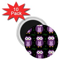 Halloween Purple Owls Pattern 1 75  Magnets (10 Pack)
