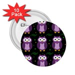Halloween purple owls pattern 2.25  Buttons (10 pack)