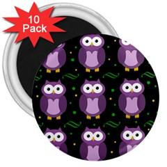Halloween purple owls pattern 3  Magnets (10 pack)