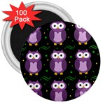 Halloween purple owls pattern 3  Magnets (100 pack)