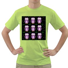 Halloween Purple Owls Pattern Green T Shirt