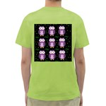 Halloween purple owls pattern Green T-Shirt Back
