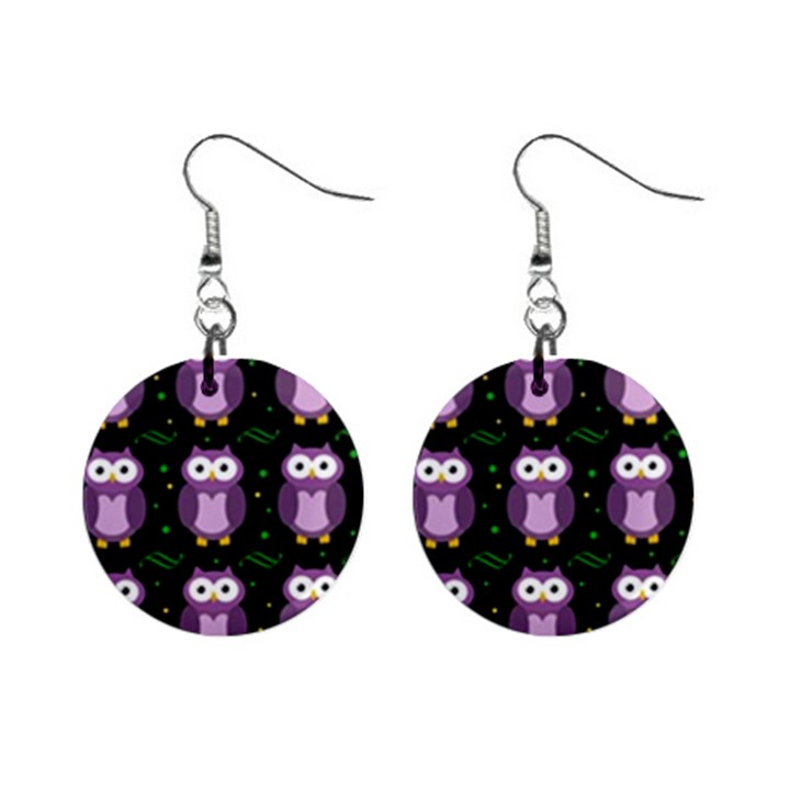 Halloween purple owls pattern Mini Button Earrings