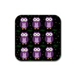 Halloween purple owls pattern Rubber Square Coaster (4 pack)  Front