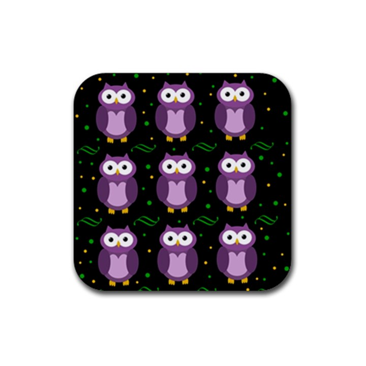 Halloween purple owls pattern Rubber Square Coaster (4 pack)