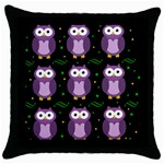 Halloween purple owls pattern Throw Pillow Case (Black)