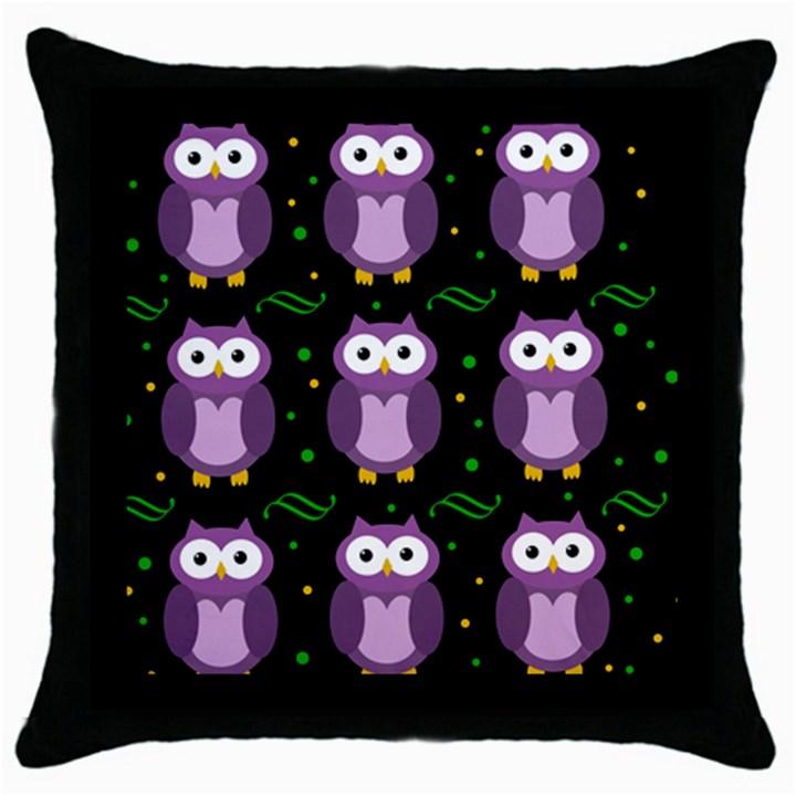 Halloween purple owls pattern Throw Pillow Case (Black)
