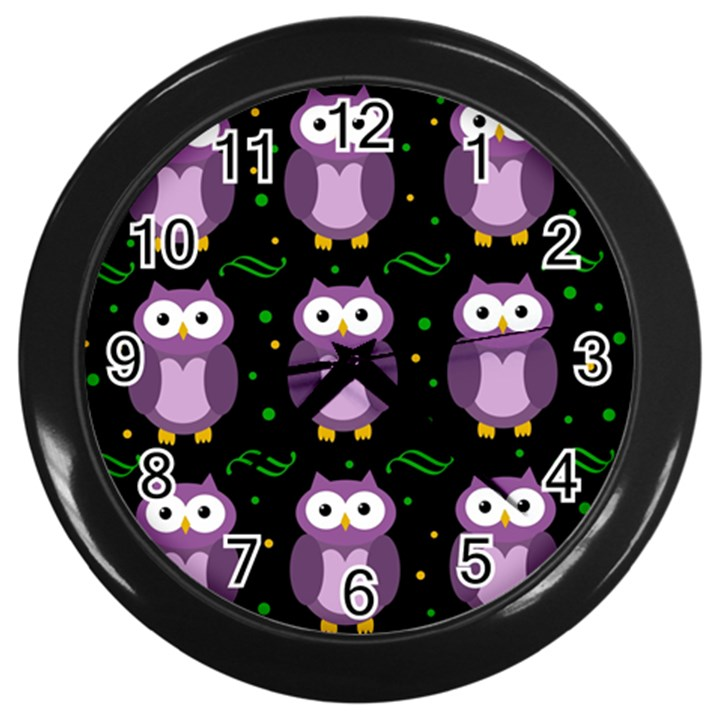 Halloween purple owls pattern Wall Clocks (Black)