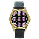 Halloween purple owls pattern Round Gold Metal Watch
