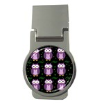 Halloween purple owls pattern Money Clips (Round)