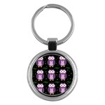 Halloween purple owls pattern Key Chains (Round)