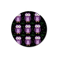 Halloween purple owls pattern Rubber Round Coaster (4 pack)