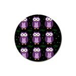 Halloween purple owls pattern Rubber Round Coaster (4 pack)