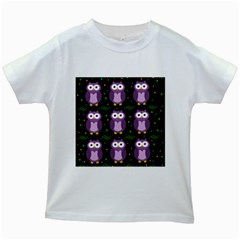Halloween Purple Owls Pattern Kids White T Shirts