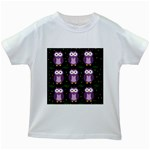 Halloween purple owls pattern Kids White T-Shirts