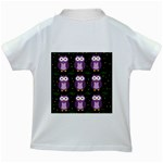 Halloween purple owls pattern Kids White T-Shirts Back