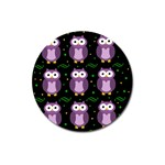 Halloween purple owls pattern Magnet 3  (Round)