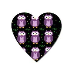 Halloween purple owls pattern Heart Magnet