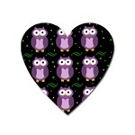 Halloween purple owls pattern Heart Magnet