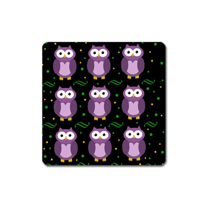 Halloween purple owls pattern Square Magnet