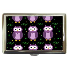 Halloween Purple Owls Pattern Cigarette Money Cases by Valentinaart