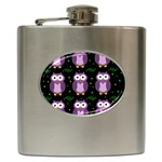 Halloween purple owls pattern Hip Flask (6 oz)