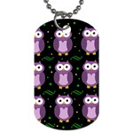 Halloween purple owls pattern Dog Tag (Two Sides)