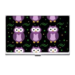 Halloween purple owls pattern Business Card Holders