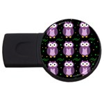 Halloween purple owls pattern USB Flash Drive Round (2 GB)