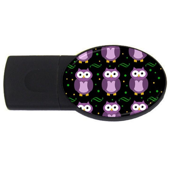 Halloween purple owls pattern USB Flash Drive Oval (2 GB)