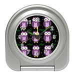 Halloween purple owls pattern Travel Alarm Clocks