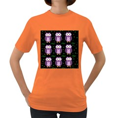 Halloween Purple Owls Pattern Women s Dark T Shirt