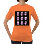 Halloween purple owls pattern Women s Dark T-Shirt Front