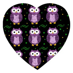 Halloween Purple Owls Pattern Jigsaw Puzzle (heart)